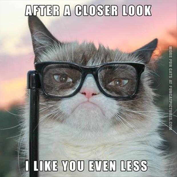 Grumpy with glasses